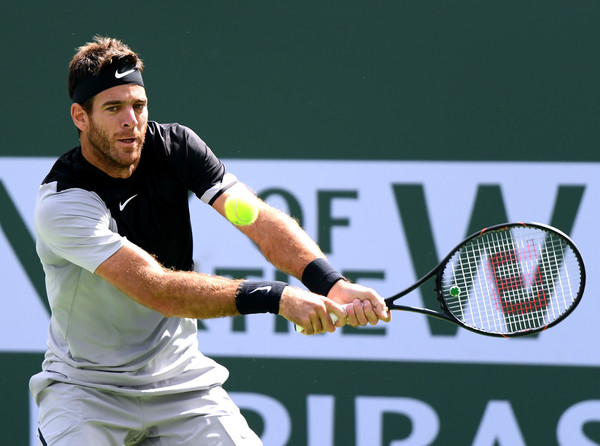 Del Potro reaches for one of his big backhands. Photo: Harry How/Getty Images