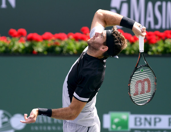 Juan Martin del Potro serves during the Indian Wells final. Photo: Harry How/Getty Images