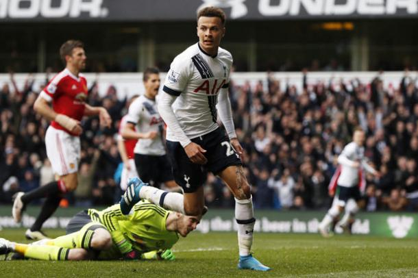Alli wheels away after giving his side the lead against United | Photo: Getty Images