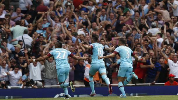 Los jugadores del West Ham celebran un gol ante el Arsenal | Fotografía: West Ham