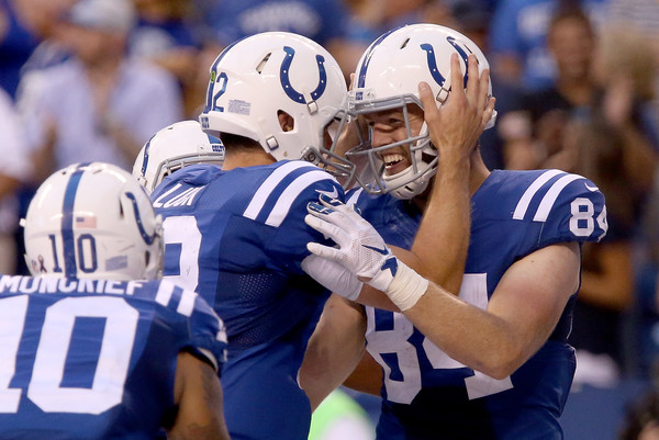 Indianapolis Colts quarterback Andrew Luck (#12) and wide receiver Jack Doyle (#84) celebrate after a fourth quarter touchdown in week one versus the Detroit Lions.  (Photo:  Getty Images