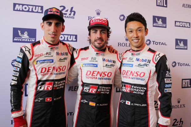 Los 3 pilotos del Toyota número 8, Buemi, Alonso y Nakajima | Foto: @FIAWEC