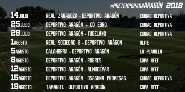 Calendario de amistosos del Deportivo Aragón  Foto: Real Zaragoza