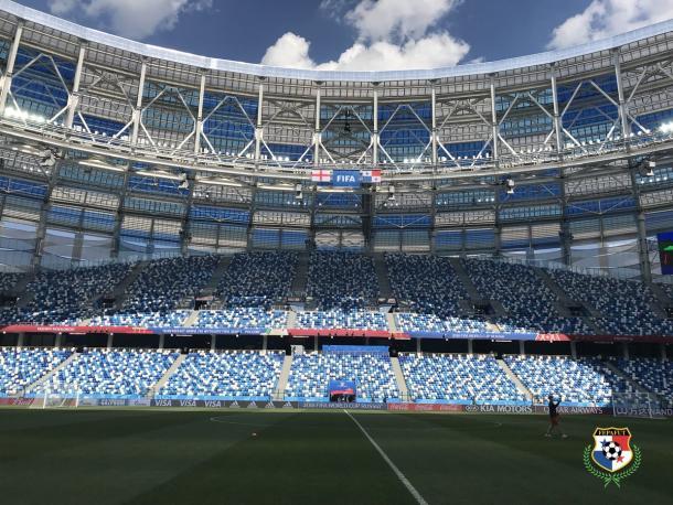 Il Nizhny Novgorod Stadium dell'omonima città. | Fonte immagine: Twitter @fepafut