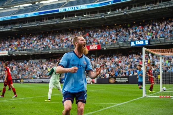 Berget tras un gol. // Imagen: New York City
