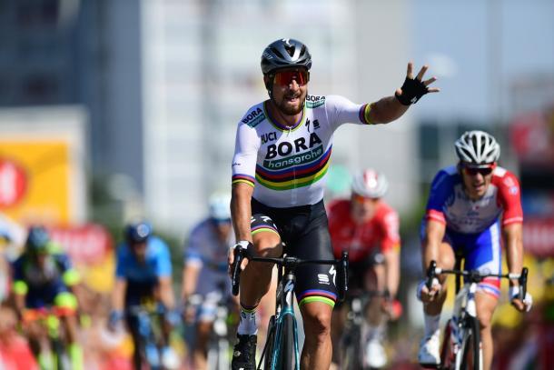Sagan celebra su victoria (fuente: Le Tour de France)