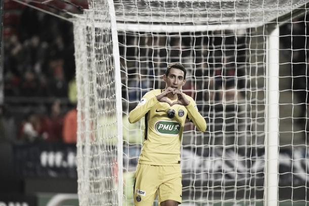 Di María, el reemplazante de Cavani, anotó dos goles en el último encuentro. Foto: twitter.com/PSG_Inside