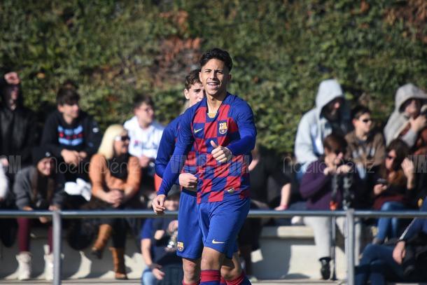 Almeida celebrando un gol en la CE Joan Gamper. Foto: Noelia Déniz, VAVEL