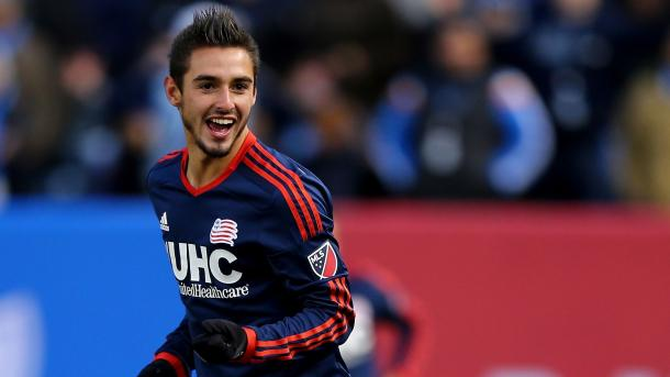 Diego Fagundez has started 2016 on fire for the Revs, he has been assisted or scored in four of New England's eight goals this season. Photo provided by Getty Images.