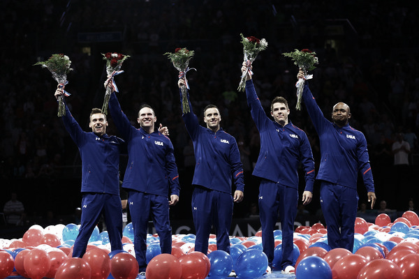 United States Men's Gymnastics team celebrating their selection to the national team. Photo Credit: Dilip Vishwanat of Getty Images