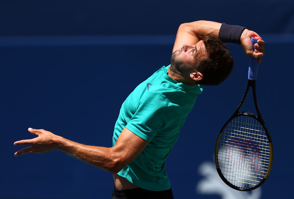 Grigor Dimitrov serves during his loss on Friday. Photo: Getty Images