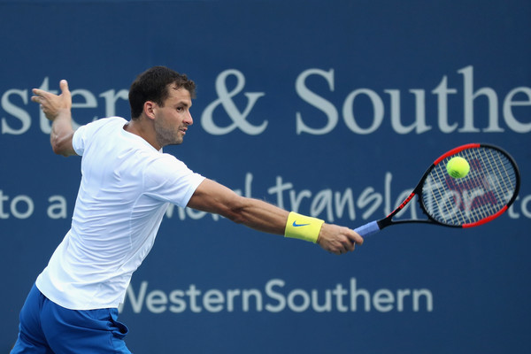 Dimitrov hits a backhand during his win over del Potro. Photo: Rob Carr/Getty Images