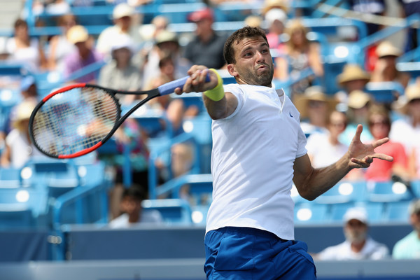 Dimitrov cracks a forehand during his win over del Potro. Photo: Rob Carr/Getty Images