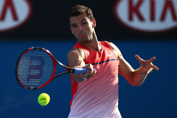 Grigor Dimitrov in his first round match. Photo: Jack Thomas/Getty Images