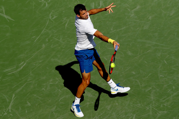 Dimitrov hits a forehand during his semifinal win. Photo: Rob Carr/Getty Images