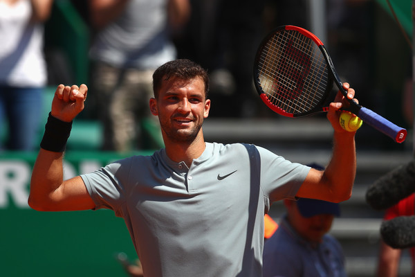 Grigor Dimitrov celebrates reaching the semifinals in Monte Carlo, his best clay court result this season. Photo: Julian Finney/Getty Images