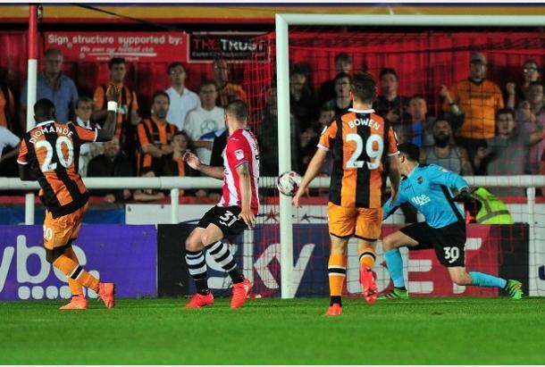Diomande scores for Hull. | Image source: Hull Daily Mail