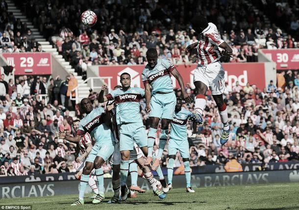 Above: Mame Biram Diouf  heads home his winner in West Ham's 2-1 defeat to Stoke City | Photo: EMPICS Sport