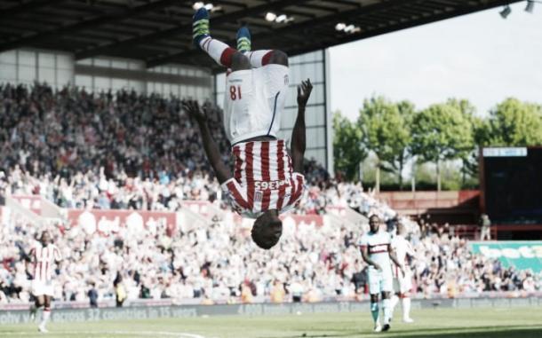Mama Biram Diouf celebrates netting the match's winning goal. Photo: Carl Recine/AI