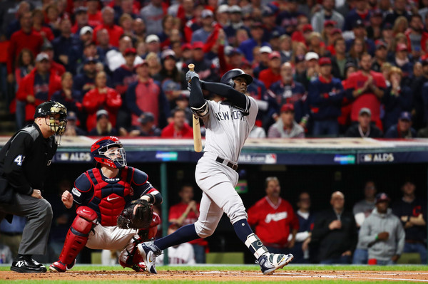 Didi Gregorius #18 of the New York Yankees hits a solo homerun in the first inning against the Cleveland Indians. |Oct. 11, 2017 - Source: Gregory Shamus/Getty Images North America|