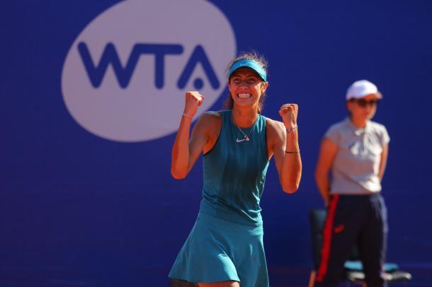 Olga Danilovic celebrates her win | Photo: Moscow River Cup / WTA