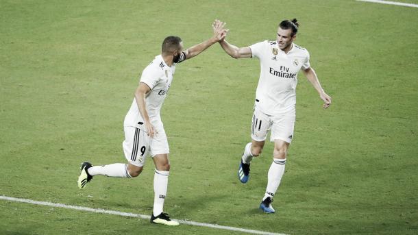 Benzema y Bale festejan el primer gol del Madrid   Foto: Real Madrid C.F.