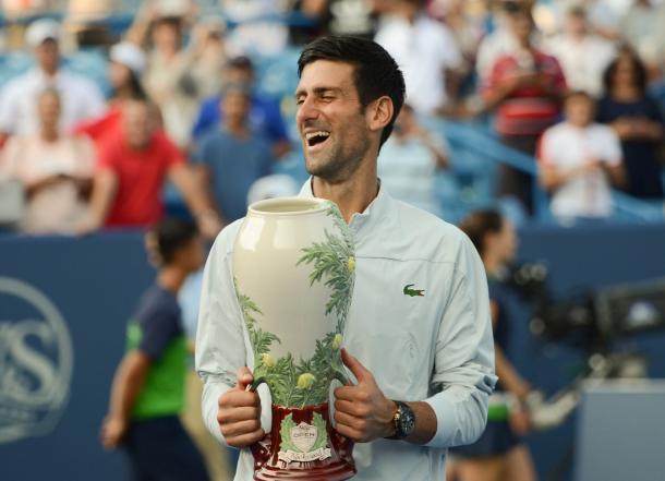 Novak Djokovic hoists the one Masters 1000 trophy he had yet to win prior to last week in Cincinnati. Photo: Noel Alberto/VAVEL USA