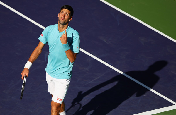 Djokovic reacts during his early loss in Indian Wells. Photo: Clive Brunskill/Getty Images