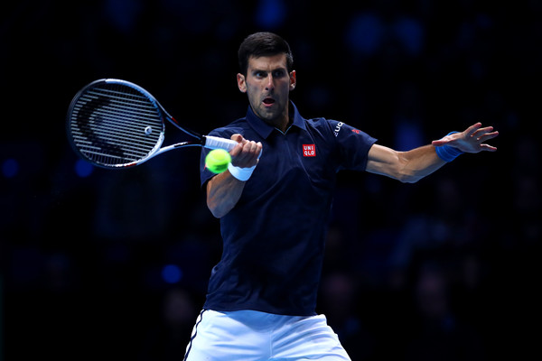 Novak Djokovic lines up a forehand during his win over Raonic. Photo: Clive Brunskill/Getty Images