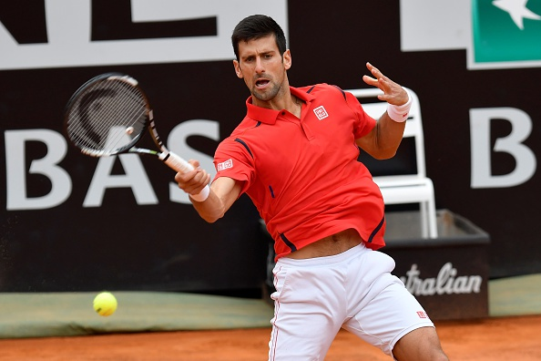 Djokovic hits a forehand during his quarterfinal win. Photo: Claudio Pasquazi /Anadolu Agency/Getty Images