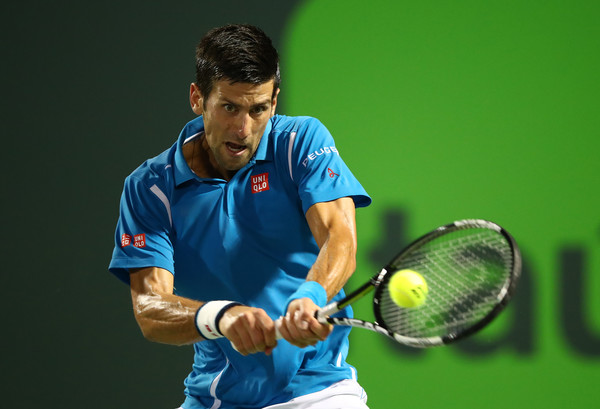 Novak Djokovic strikes a backhand during his second round match. Photo: Clive Brunskill/Getty Images