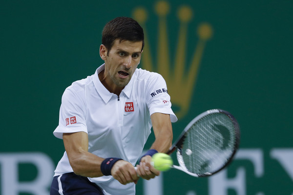 Djokovic hits a backhand on Thursday in Shanghai. Photo: Lintao Zhang/Getty Images