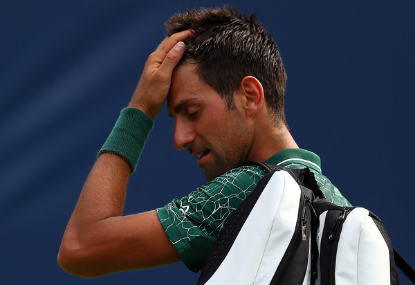 Novak Djokovic looks frustrated after his upset loss. Photo: Getty Images