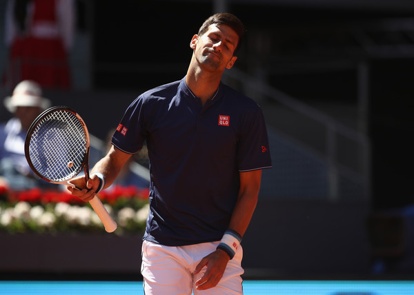 Novak Djokovic reacts to losing a point during his Madrid loss. Photo: Julian Finney/Getty Images