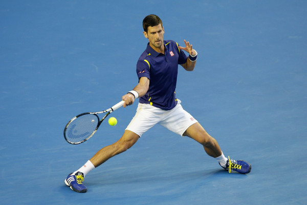 Djokovic smacks a forehand during his semifinal on Thursday. Photo: Darrian Traynor/Getty Images