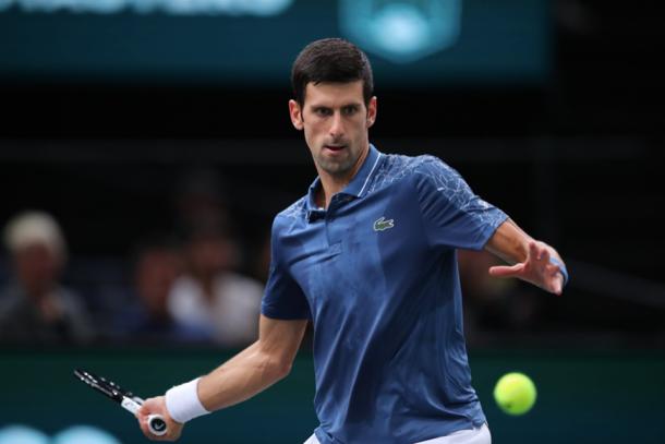 Novak Djokovic lines up a forehand in Paris. Photo: BNP Paribas Masters