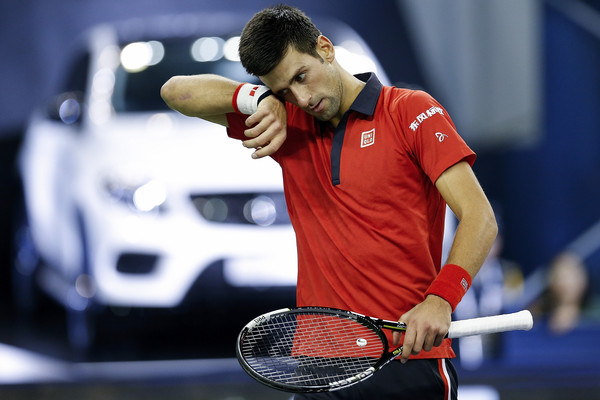 Djokovic reacts after losing a point during his 2015 Shanghai semifinal. Photo: Lintao Zhang/Getty Images