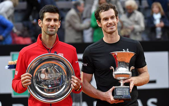 Andy Murray (right) and Djokovic after the Scot beat the Serb in Rome. Photo: Getty Images