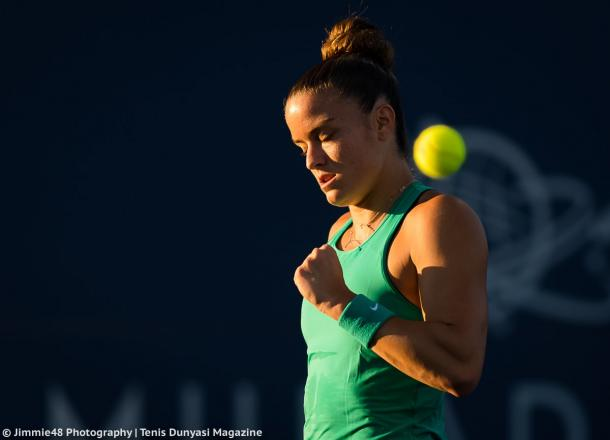 Maria Sakkari celebrates winning a point during the match | Photo: Jimmie48 Tennis Photography