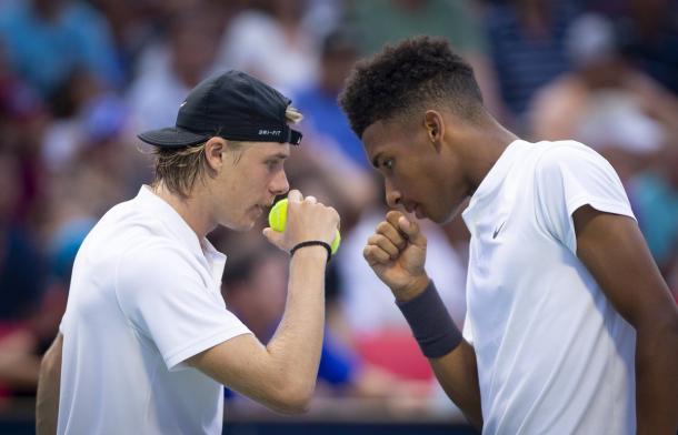 Los jóvenes ya empiezan a trabajar en el dobles. | Foto: Prensa Rogers Cup.