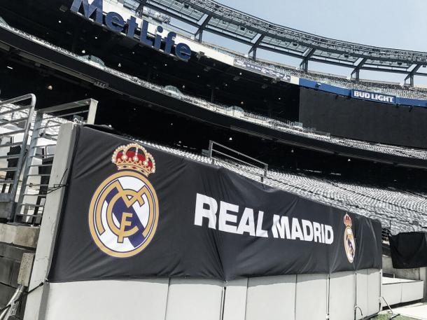 El estadio, preparado en el lado del Madrid   Foto: Twitter MetLife Stadium