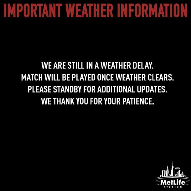 Se mantiene el alerta meteorológica   Foto: Twitter MetLife Stadium