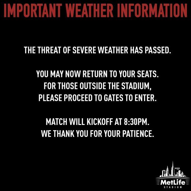 Ha pasado el mal clima   Foto: MetLife Stadium