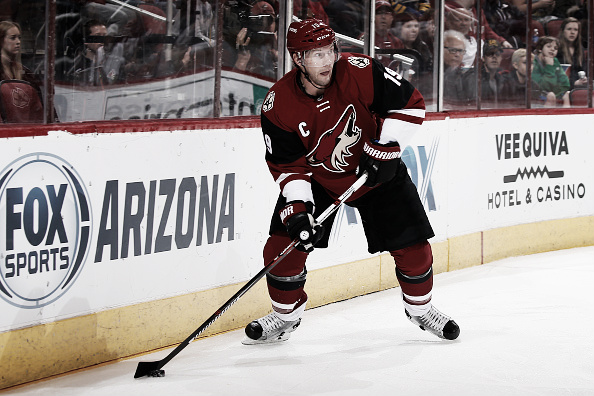 Shane Doan #19 of the Arizona Coyotes skates with the puck during the NHL game against the Buffalo Sabres at Gila River Arena on January 18, 2016 in Glendale, Arizona. The Sabres defeated the Coyotes 2-1. (Photo by Christian Petersen/Getty Images)