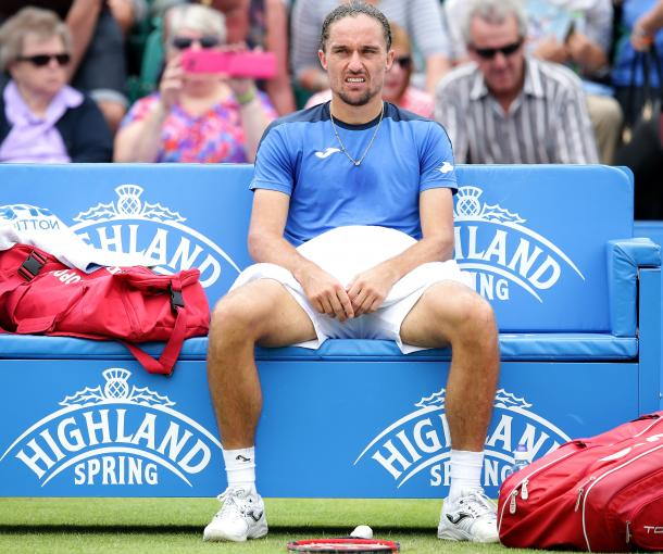 Dolgopolov was appearing in his first grass court tournament of the season. Photo: Getty