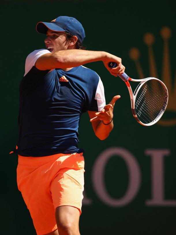 Dominic Thiem in action during his first round match at the Monte Carlo Rolez Masters. (Photo: Getty Images / Clive Brunskill)