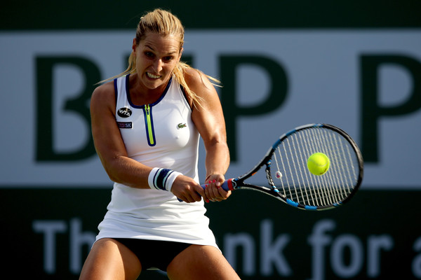 Cibulkova hits a backhand. Photo: Matthew Stockman/Getty Images