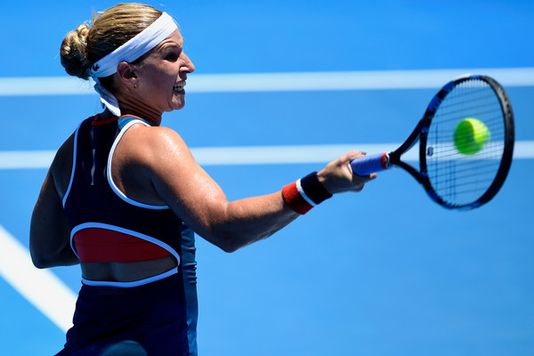 Dominika Cibulkova hits a forehand during her second-round match against Eugenie Bouchard at the 2017 Apia International Sydney. | Photo: Brett Hemmings/Getty Images