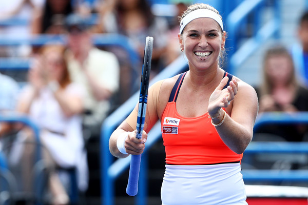 Dominika Cibulkova celebrates her win over Mertens in Connecticut, where she reached the final | Photo: Maddie Meyer/Getty Images North America