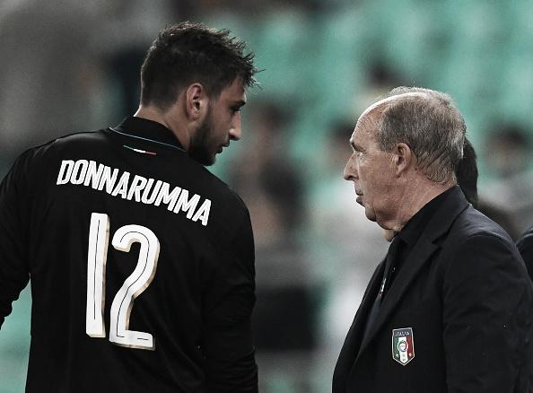 Donnarumma, de 17 anos, vem ganhando chances na Seleção Italiana sob o comando de Ventura (Foto: Claudio Villa/Getty Images)